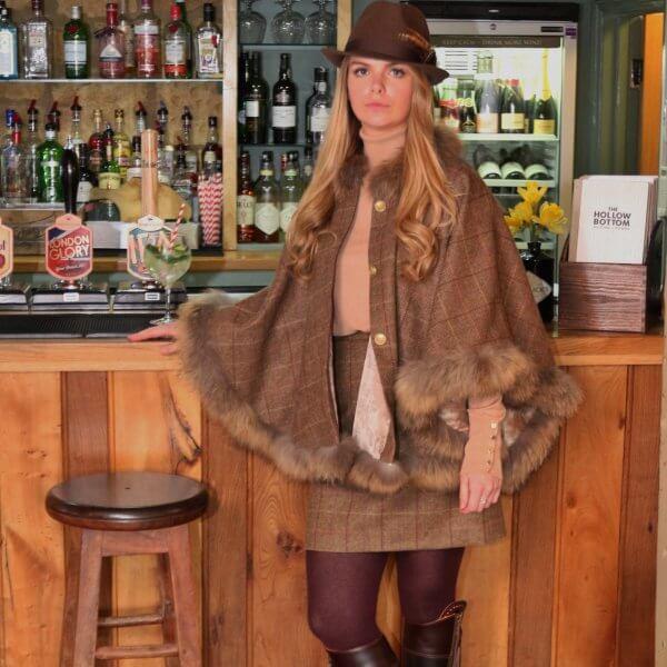 St Moritz Tweed  Fur Cape