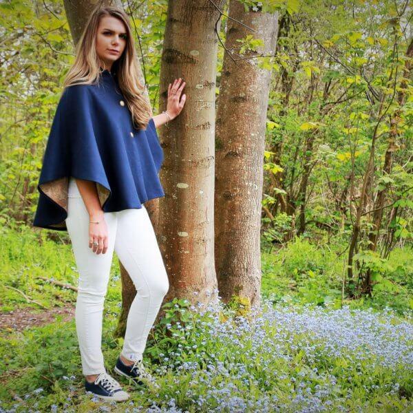 Chelsea Cape French Blue Herringbone Tweed